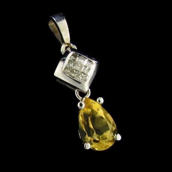 14 kt. White Gold, 0.67CT Citrine Pendant