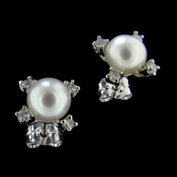 14 kt. White Gold, 3mm Pearl & Diamond Earrings