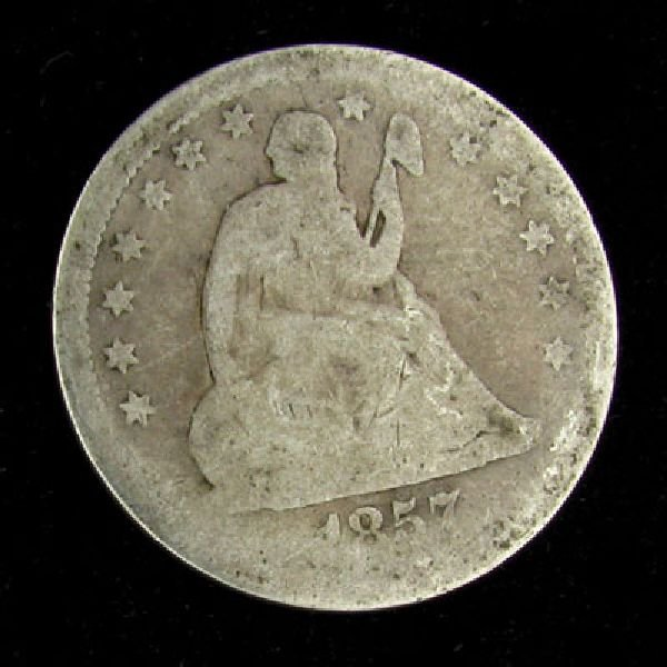1857 Seated Liberty Quarter Dollar Coin - Investment