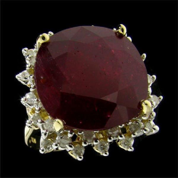 APP:$40.9k 14 kt. Gold, 17.97CT Ruby & Diamond Ring