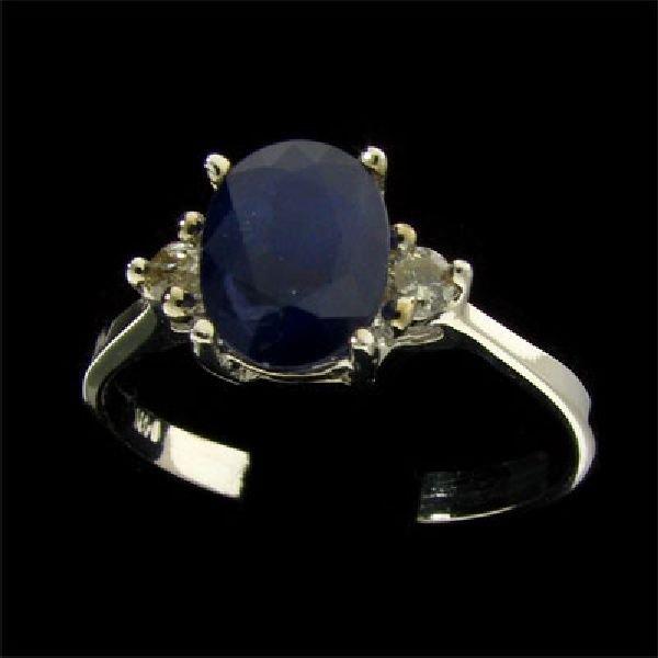 14 kt. White Gold, Sapphire & Diamond Ring