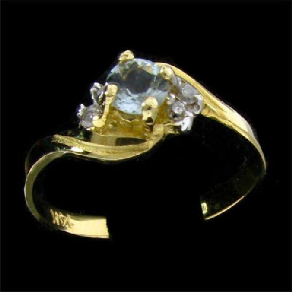 14 kt. Gold, 0.21CT Aquamarine & Diamond Ring