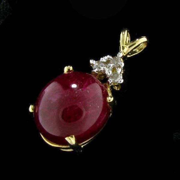 APP:$5.8k 14 kt. Gold, 11.91CT Ruby & Diamond Pendant