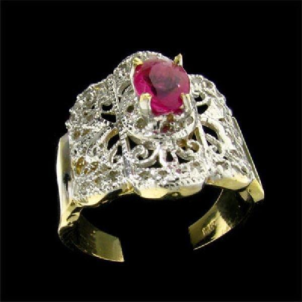 APP:$4.1k 14kt. Gold .77CT Pink Sapphire & Diamond Ring