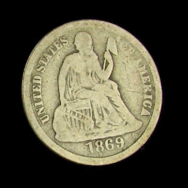 1869-S Seated Liberty Dime Coin - Investment
