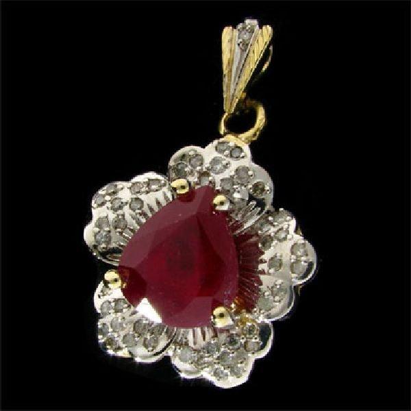 APP: $23.3k 14 kt. Gold, 11.02CT Ruby & Diamond Pendant