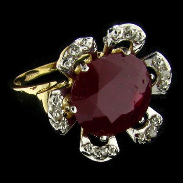 APP: $9.6k 14 kt. Gold, 7.76CT Ruby & Diamond Ring