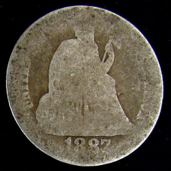 1887 Seated Liberty Dime Coin - Investment