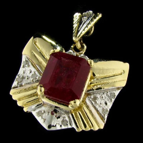 APP: $36.5k 14 kt. Gold, 6.01CT Ruby & Diamond Pendant