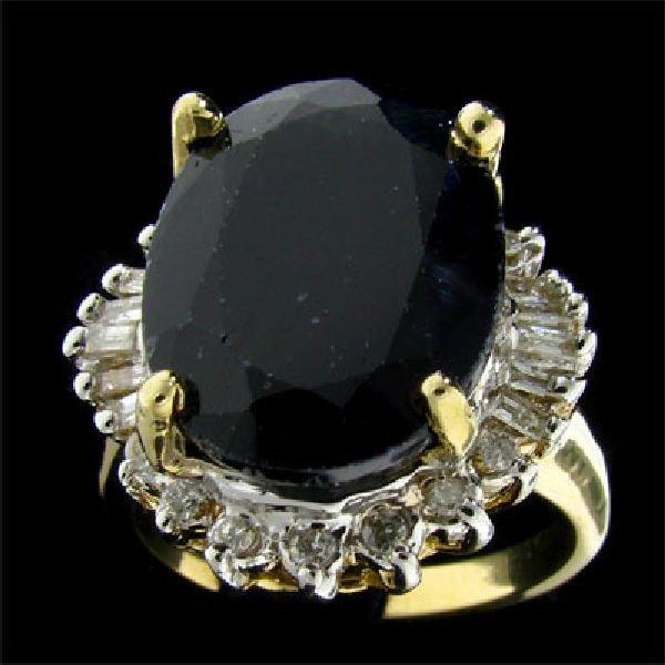 APP:$15.3k 14ktY/W Gold 10.67CT Sapphire & Diamond Ring