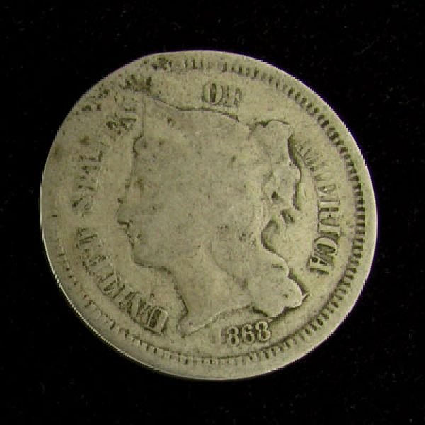 1868 Liberty Head Type Three Cent Coin - Investment