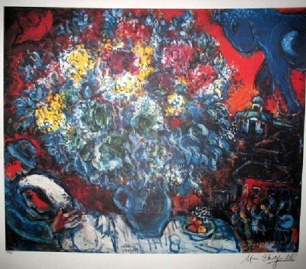 MARC CHAGALL Bouquet de Fleurs et Amants Print