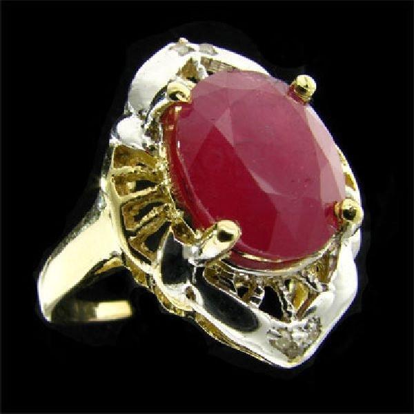 APP: $10.3k 14 kt. Gold, 7.42CT Ruby & Diamond Ring