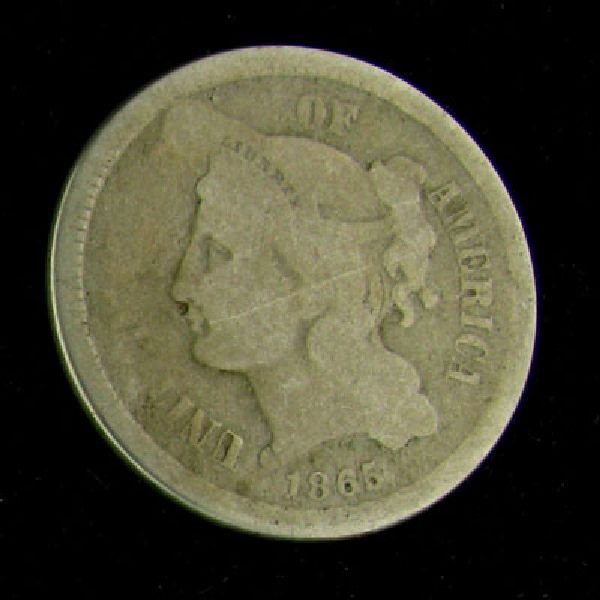 1865 Liberty Head Type Three Cent Coin - Investment