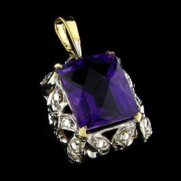 APP: $2k 14 kt. Gold, 5.81CT Amethyst & Diamond Pendant