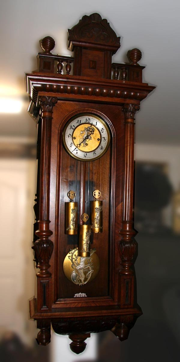 Antique 3 Weight Wall Clock- Very Ornate-Restored