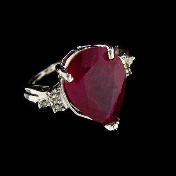 APP: $11.4k 14kt. White Gold 5.97CT Ruby & Diamond Ring