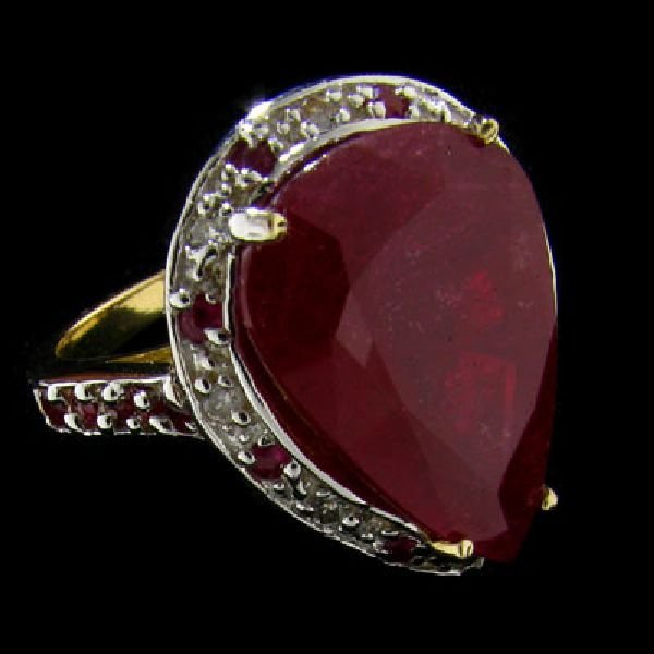 APP: $20.6k 14 kt. Gold, 12.87CT Ruby & Diamond Ring