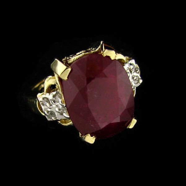 APP: $33k 14 kt. Gold, 10.25CT Ruby & Diamond Ring