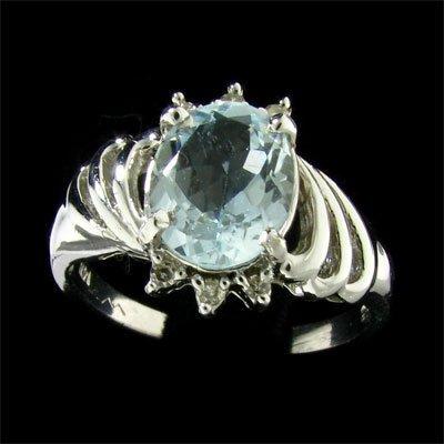 14 kt. White Gold, Aquamarine and Diamond Ring