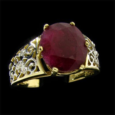 APP: $5.1k 14 kt. Gold, 5.56CT Ruby and Diamond Ring