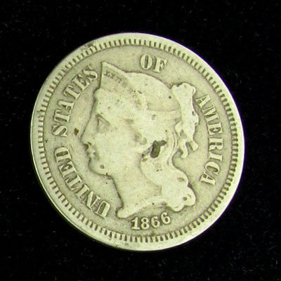 1866 Liberty Head Type Three Cent Coin - Investment