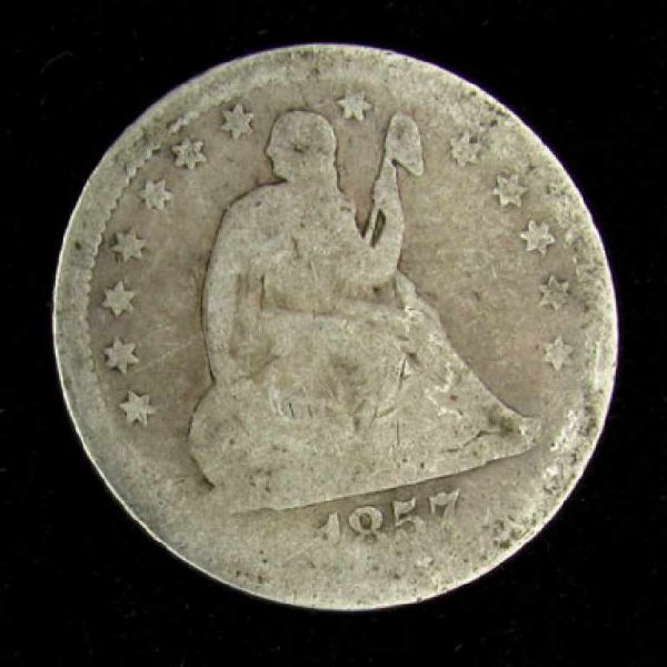 23: 1857 Seated Liberty Quarter Dollar Coin-Investment