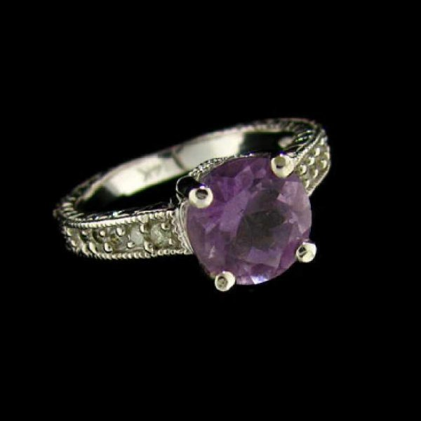 5: 14 kt. White Gold, 1.64CT Amethyst and Diamond Ring