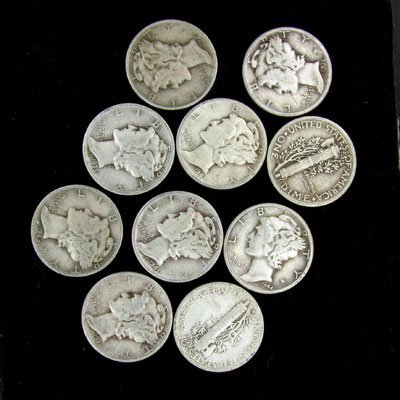 10 Misc. U.S. Mercury Type Dime Coin - Investment