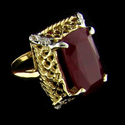 APP: $22.1k 14 kt. Gold, 10.64CT Ruby & Diamond Ring