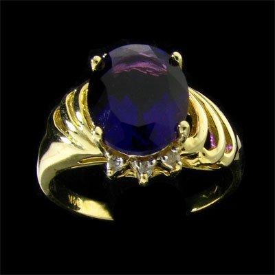 14 kt. Gold, Amethyst & Diamond Ring