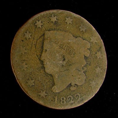 1822 Liberty Head Type One Cent Coin - Investment
