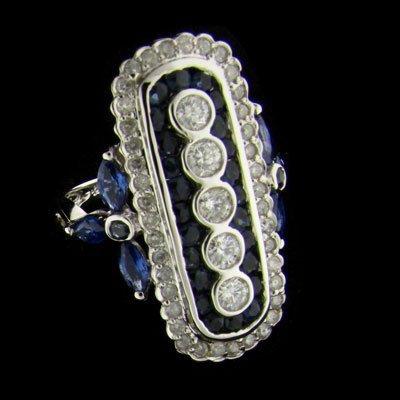 APP:7k 14kt White Gold .92CT Blue Sapp. & Diamond Ring