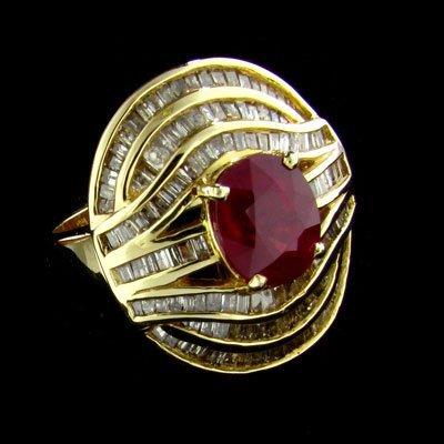 APP: $32.2k 14 kt. Gold, 3.49CT Ruby & Diamond Ring