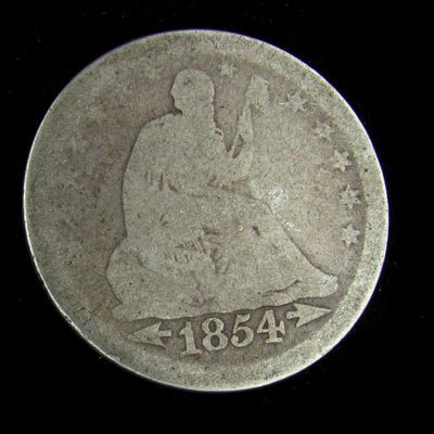 1854 Seated Liberty Quarter Dollar Coin - Investment