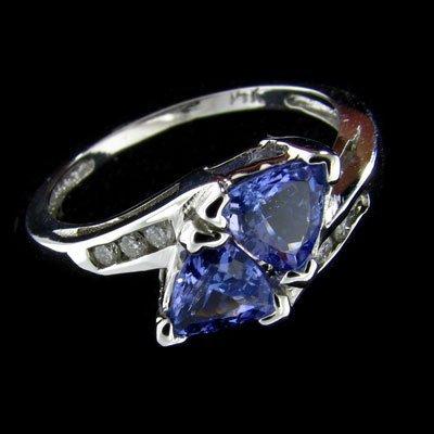 14 kt. White Gold, 0.88CT Tanzanite & Diamond Ring