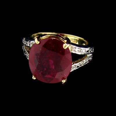 APP: $9.4k 14 kt. Gold, 4.52CT Ruby & Diamond Ring