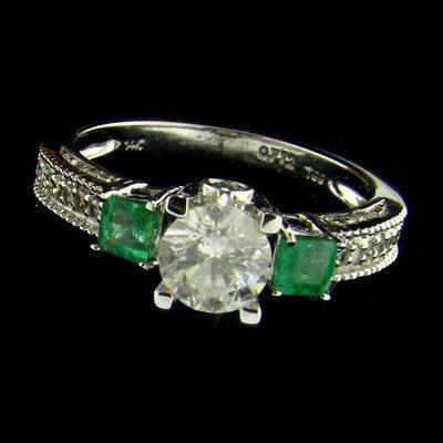 APP: 5.7k 14kt White Gold 0.72CT Diamond & Emerald Ring