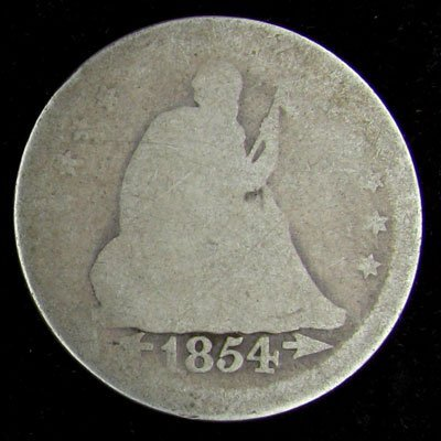 1854 Liberty Seated Type Quarter Dollar Coin