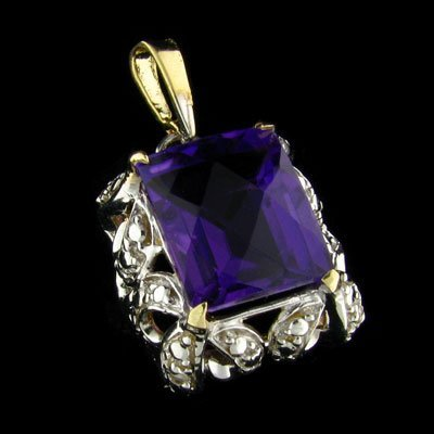 APP: $2k 14 kt. Gold, 5.81CT Amethyst & Diamond Pendant