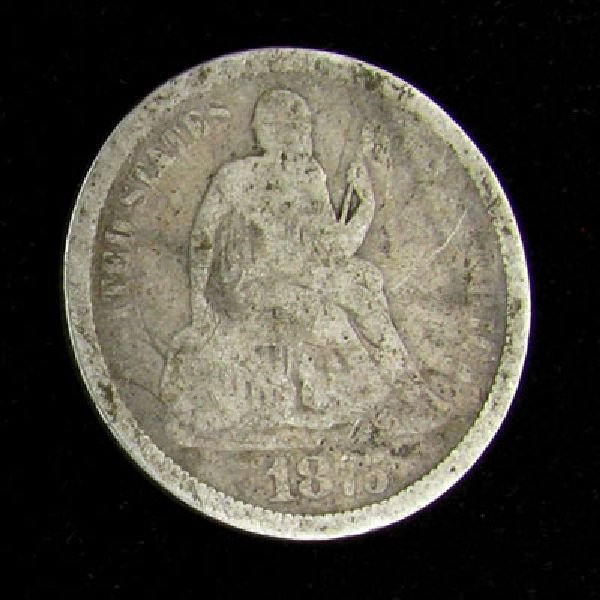 1875 Seated Liberty Dime Coin - Investment