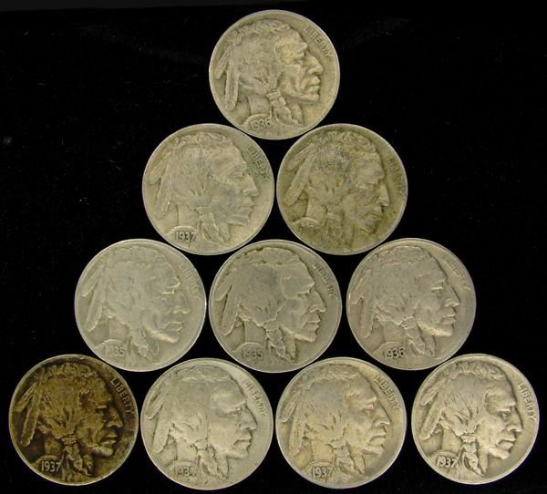 10 Misc. Buffalo Nickel Coin - Investment