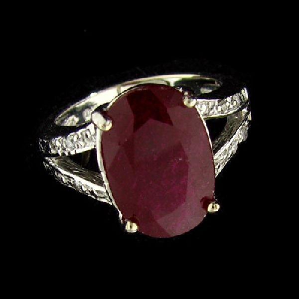 APP: $17.9k 14kt. White Gold 6.43CT Ruby & Diamond Ring