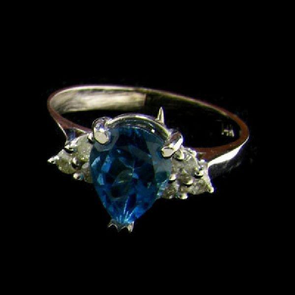 14kt. White Gold, 1.50CT Blue Topaz & Diamond Ring