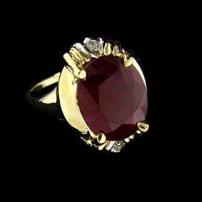 APP: $14.2k 14 kt. Gold, 5.03CT Ruby & Diamond Ring
