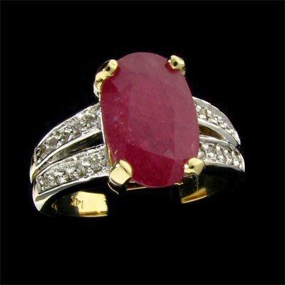 APP: $2.7k 14 kt. Gold, 3.42CT Ruby & Diamond Ring