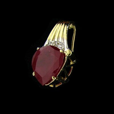 APP: $18.6k 14 kt. Gold, 6.95CT Ruby & Diamond Pendant