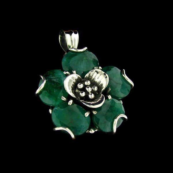 APP: $36.3k 32.27CT Emerald Sterling Silver Pendant