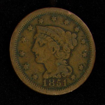 1851 Liberty One Cent Coin - Investment