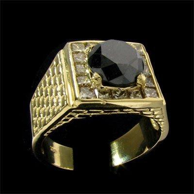 APP: $13.5k 14kt. Gold, 4.13CT Rare Black Diamond Ring